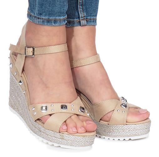 Beżowe sandały koturny espadryle lato MB 20 40