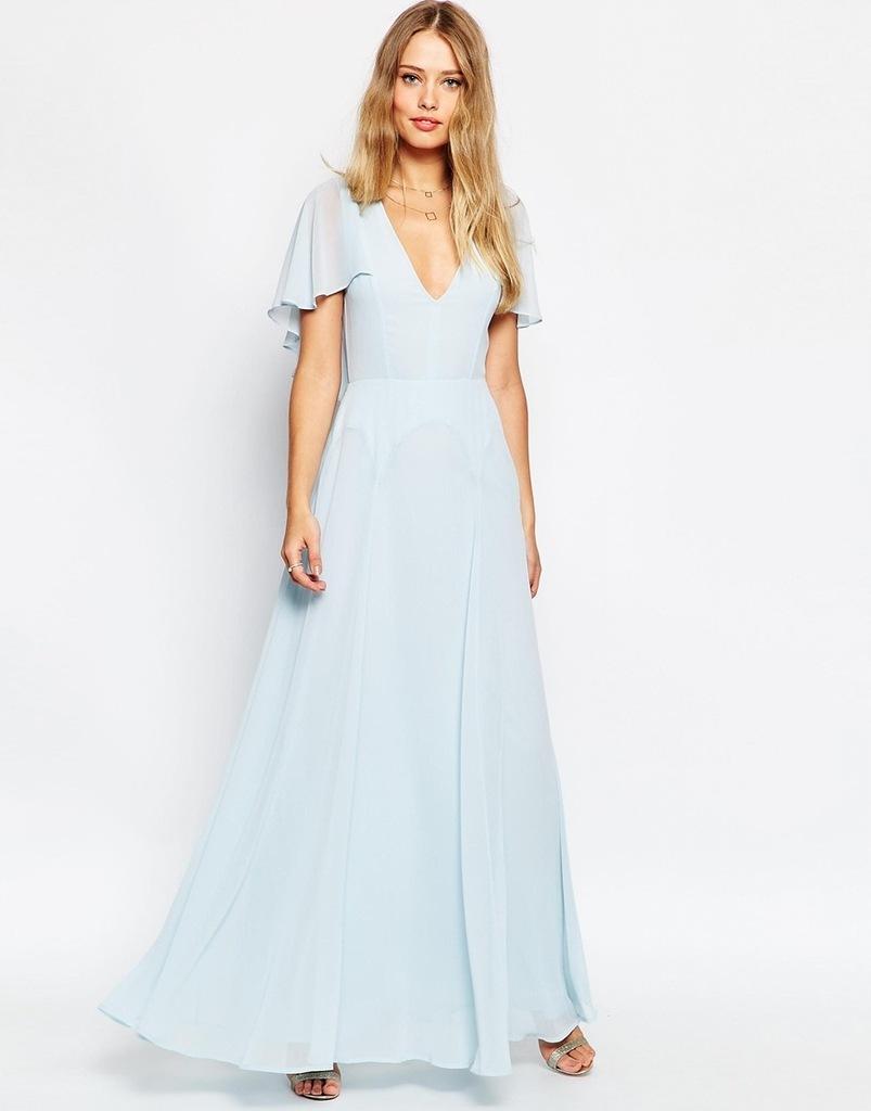 ASOS - błękitna sukienka maxi wesele - 40