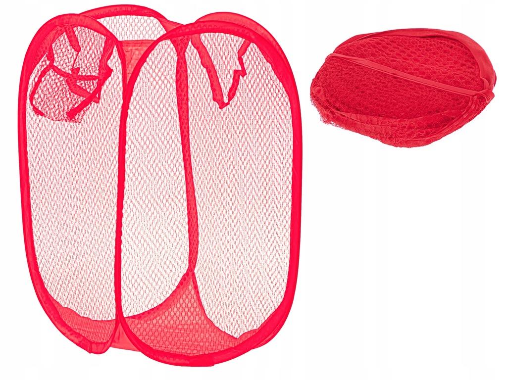 Kosz na bieliznę zabawki z siatki składany czerwon