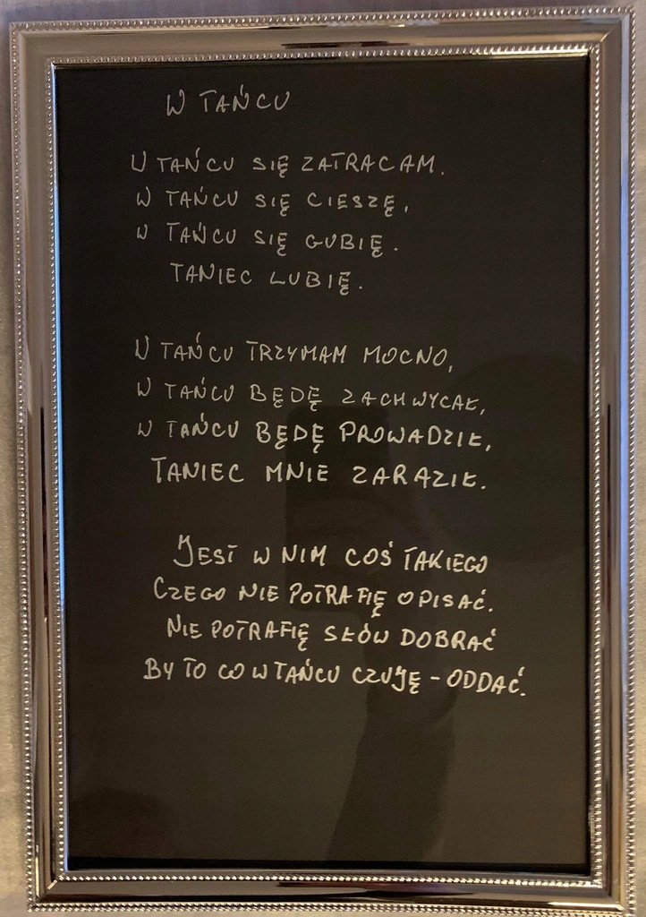 Oprawiony wiersz autorstwa adw. Rafała Dębowskiego