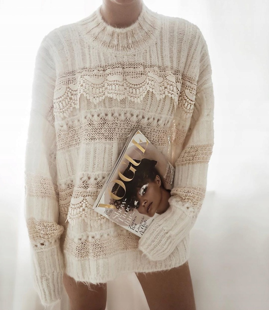 Zara sweter z koronką 36 S
