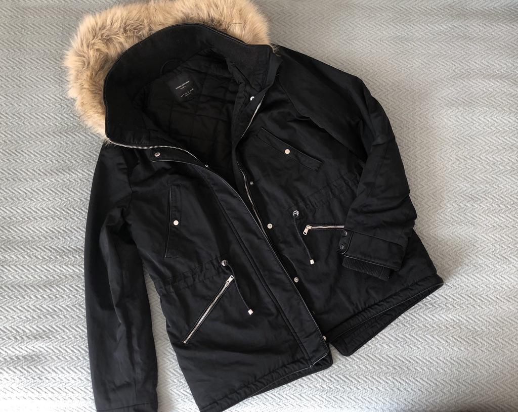 Kurtka Zara czarna s kaptur futerko jesien zima
