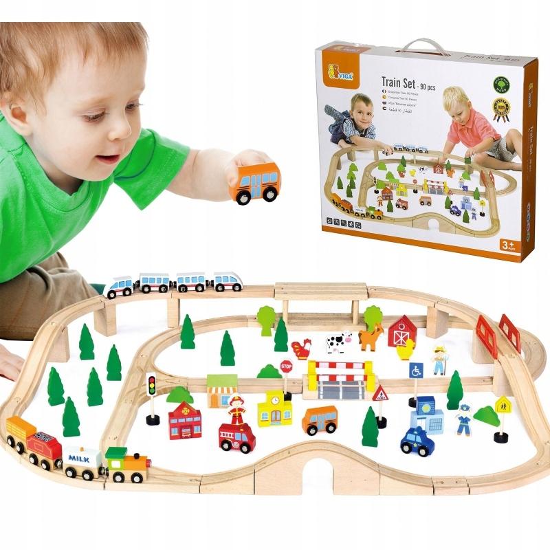 Drewniana Kolejka z pociągami tor dla dzieci 90 el