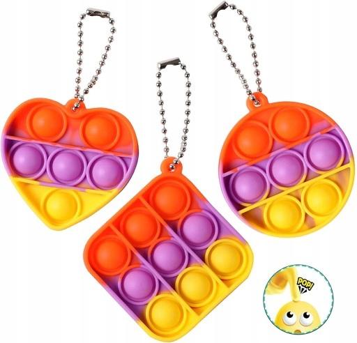 3 Pcs Push pop keychain Bubble Fidget Sensory Toys