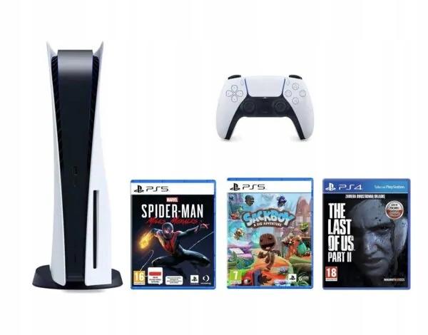 Konsola Sony PlayStation 5 z napędem + 3 gry
