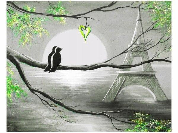 40x50cm Obraz druk Ptaki w romantycznym Paryżu obr