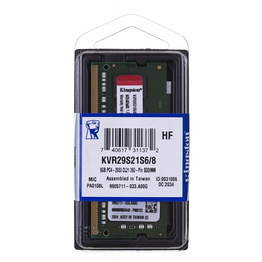 KINGSTON DDR4 SODIMM 8GB 2933MHz CL21 1Rx16