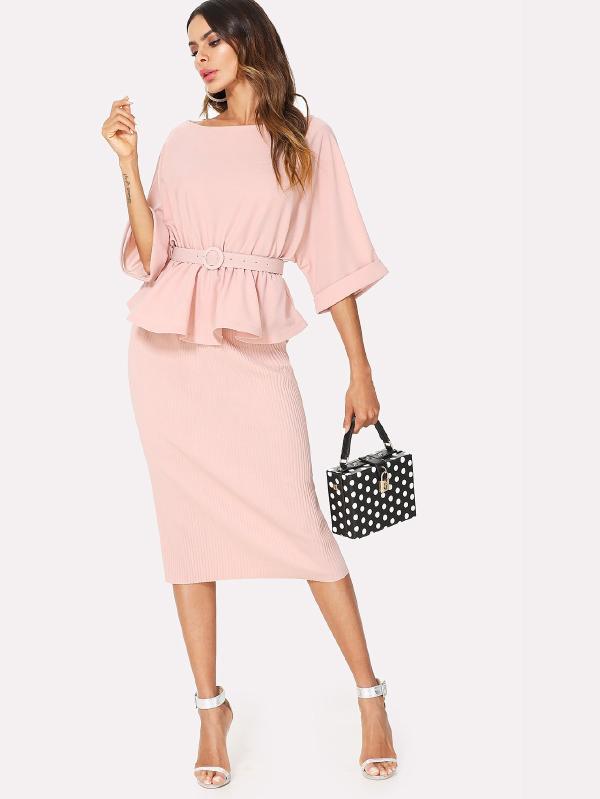 Sukienka komplet spódnica + top + pasek róż S/M