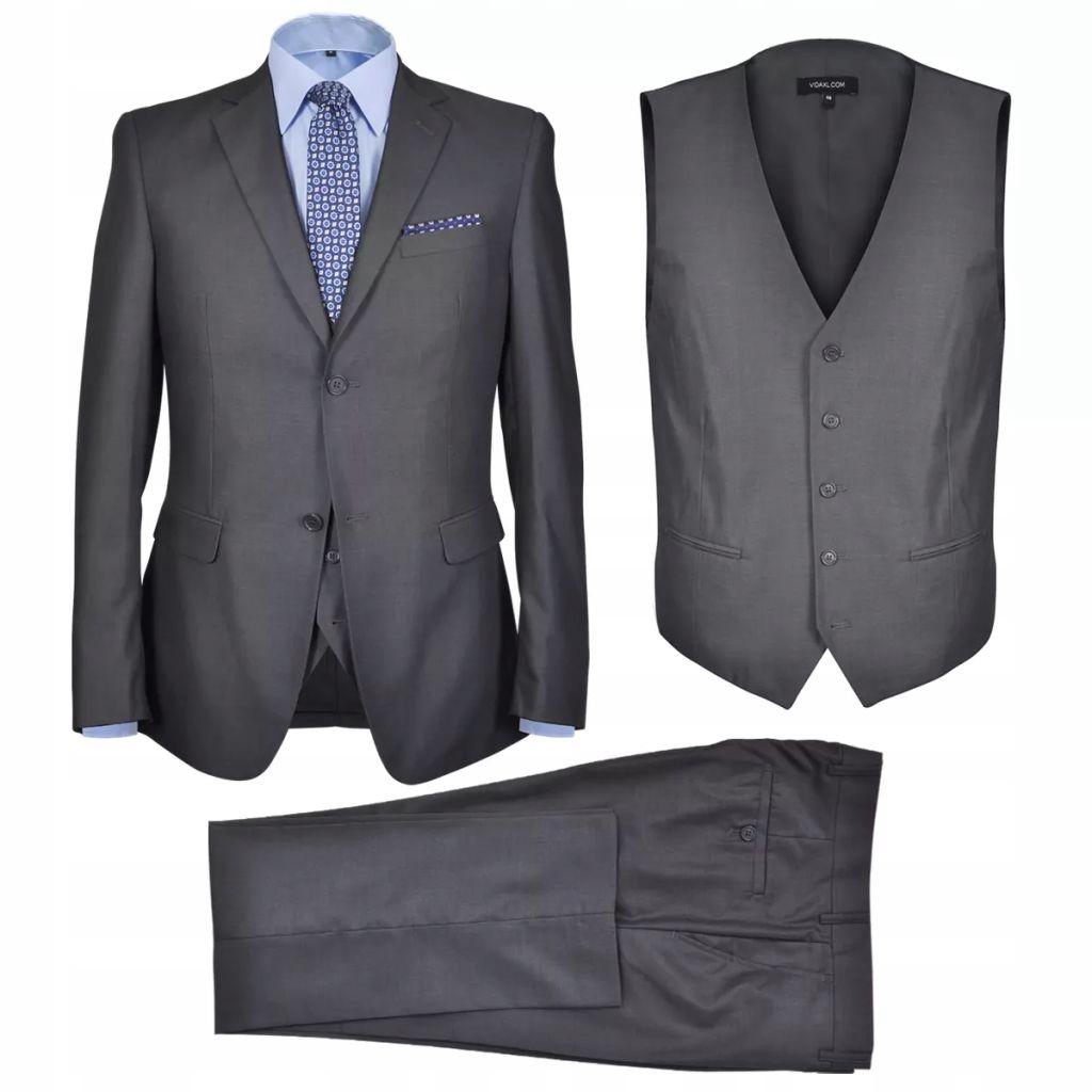 Męski garnitur biznesowy, 3-częściowy, rozmiar 56,