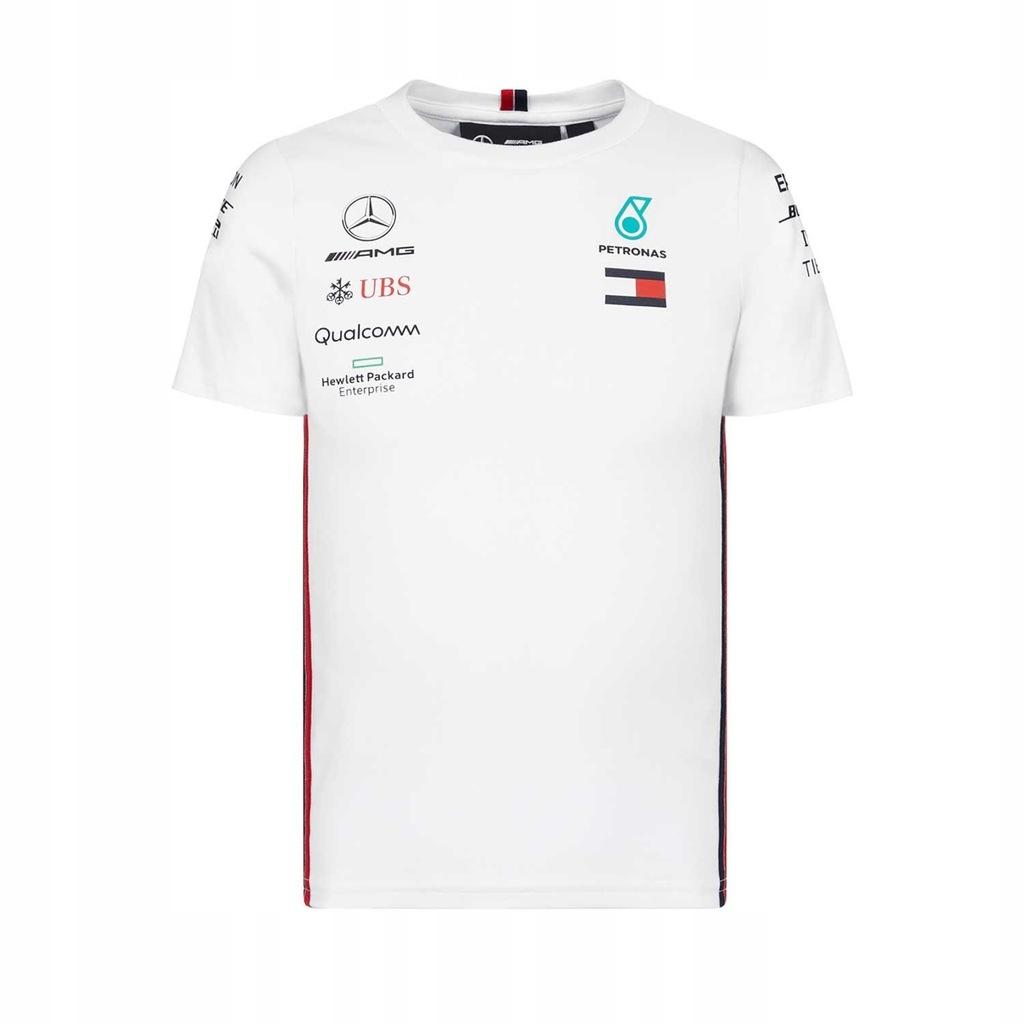 T-shirt biały Mercedes F1 2019 r. 116 cm (dzieci)