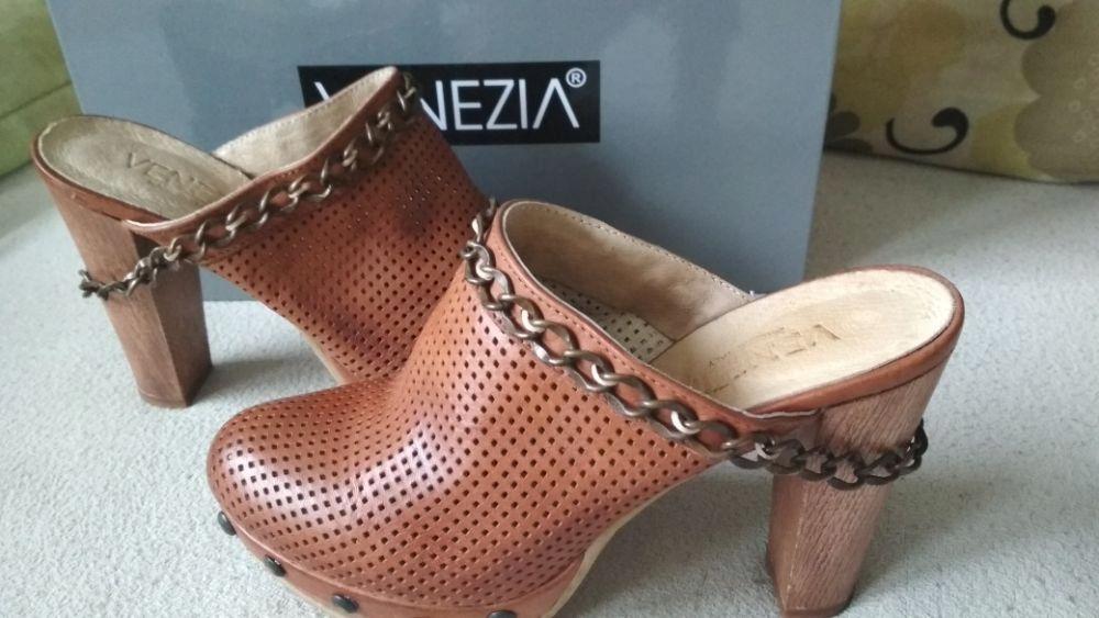 VENEZIA 37 skóra brązowe skórzane sandałki klapki
