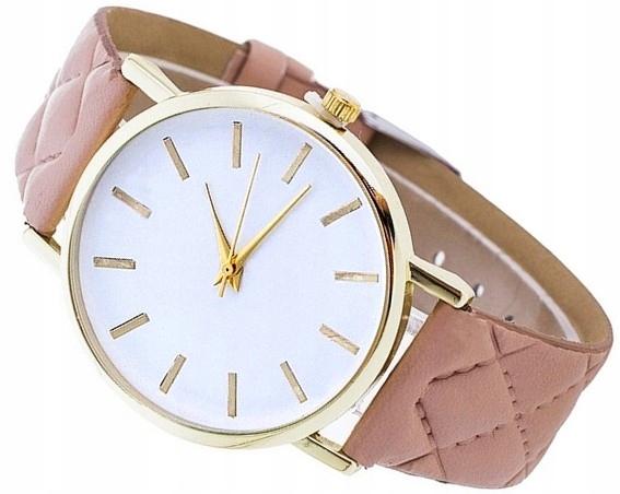 Zegarek GENEVA Złoty skórzany pasek pikowany ZK97