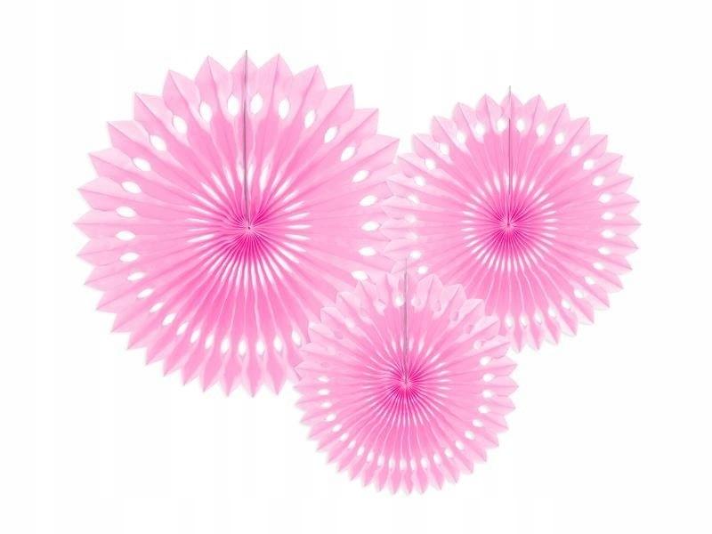 Rozety dekoracyjne, j. różowy, 20-30cm, 3 szt