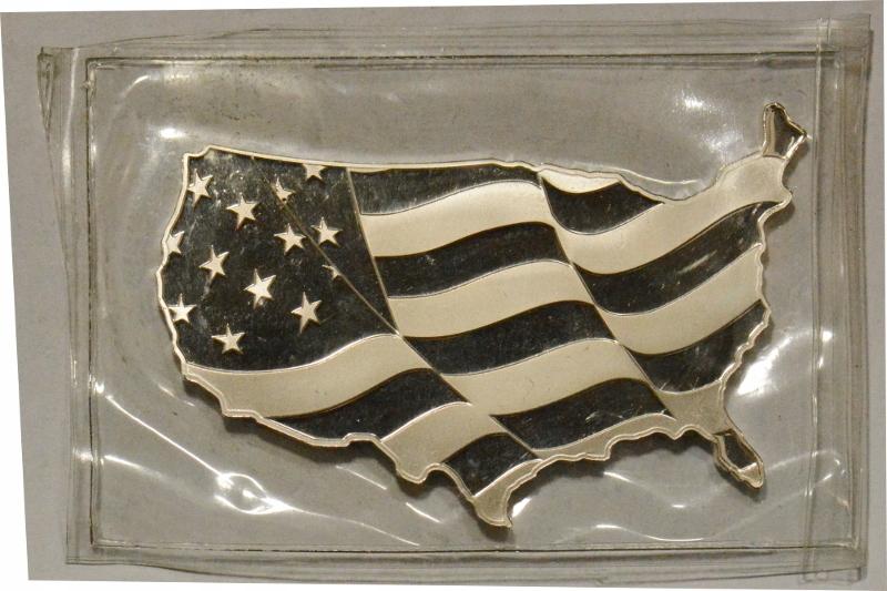 C162. USA SZTABKA SREBRO 5 oz MAPA USA