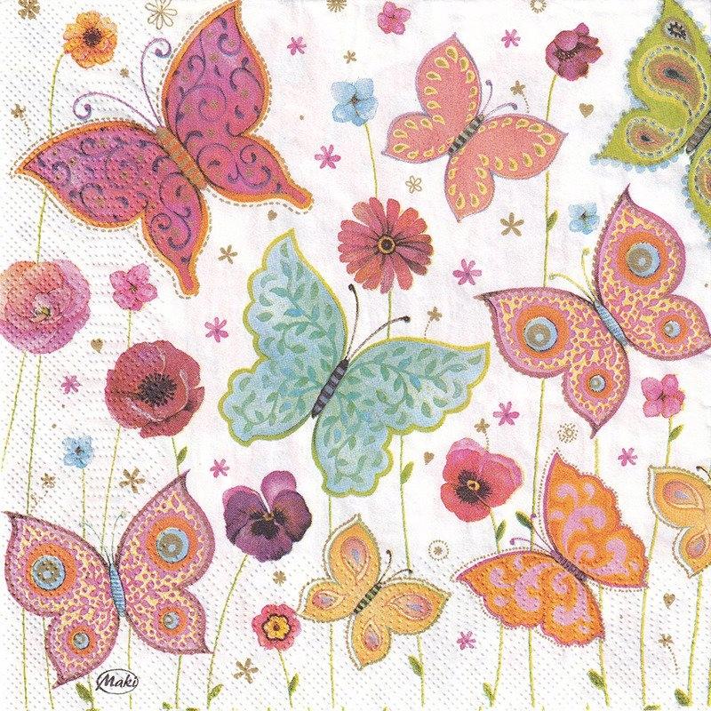 Serwetka do decoupage 33x33cm - Motylki i kwiatki