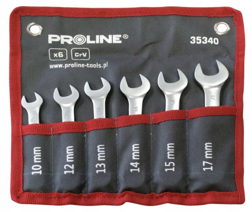 Klucze płasko-oczkowe krótkie 10-17mm 6szt Proline