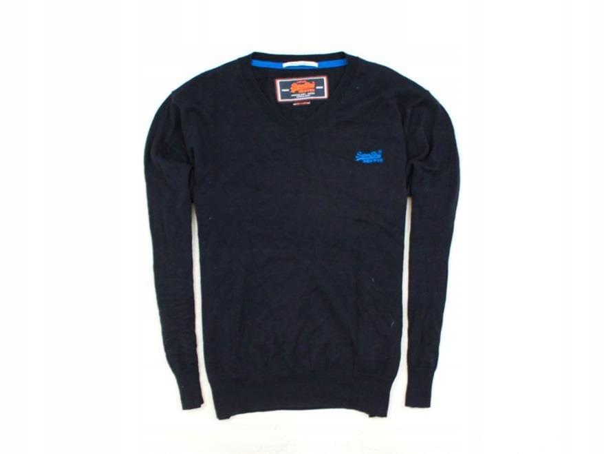 *H Superdry Sweter Męski V-Neck Bawełna Czarny XL