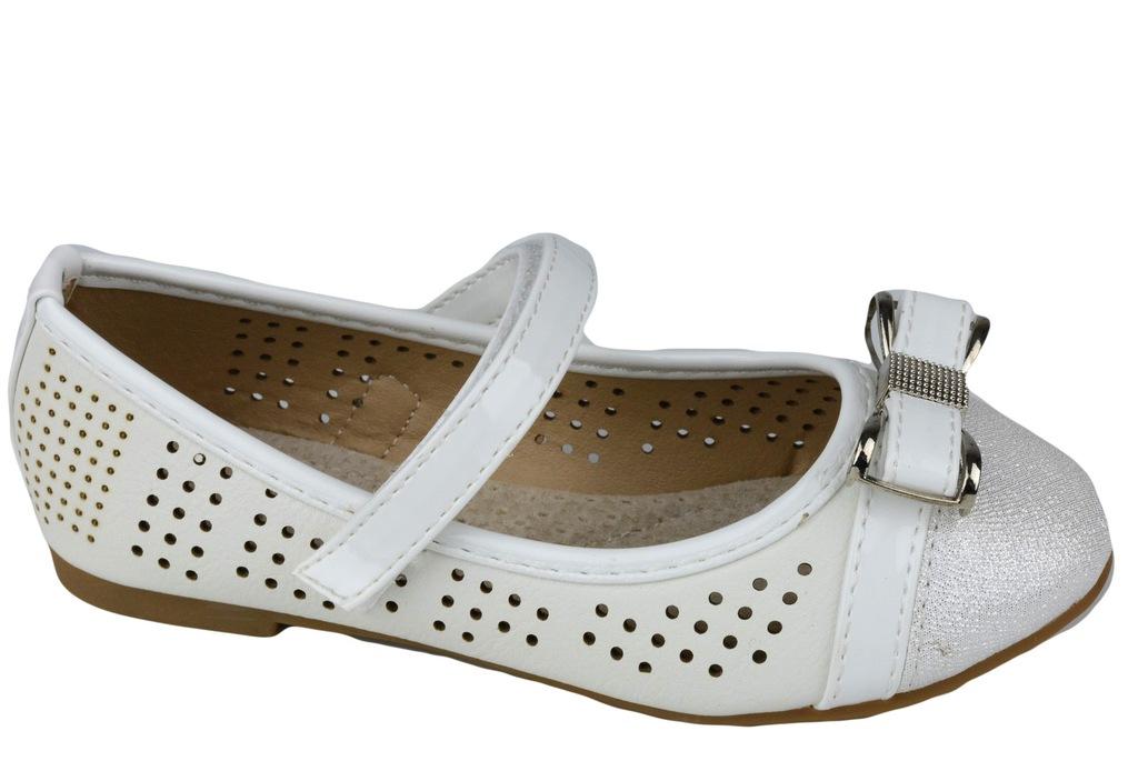 BADOXX Balerinki Dziewczęce Białe Ażurowe 478 26