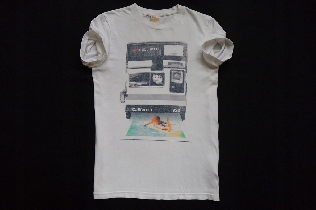 HOLLISTER koszulka biała nadruk t-shirt logowana_M