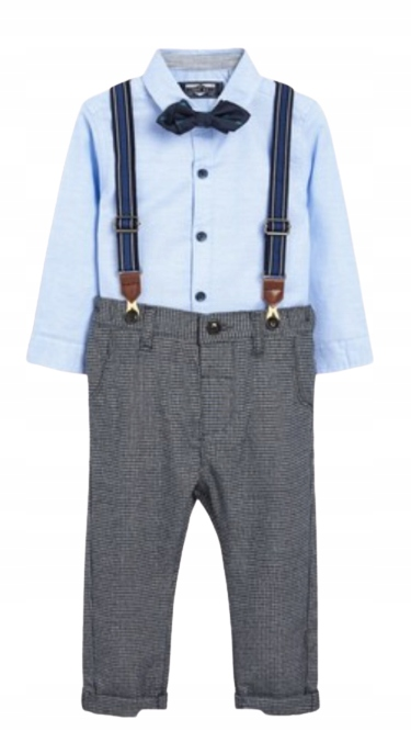 Next /Nowy/Komplet koszula spodnie mucha szelki 80
