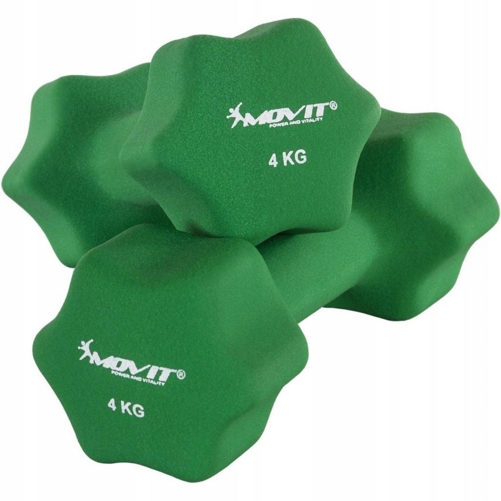 Zielone hantle neoprenowe 2 x 4 kg MOVIT