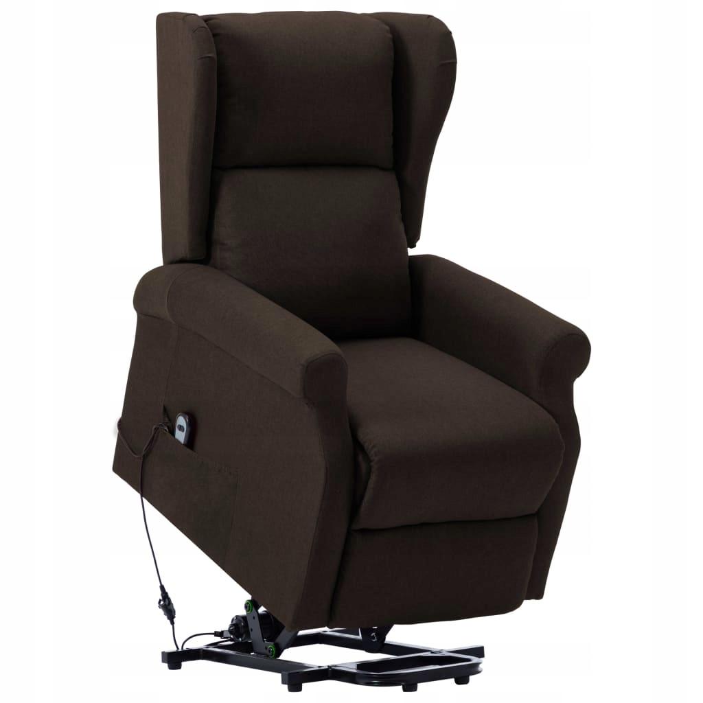 Fotel ułatwiający wstawanie, ciemnobrązowy, tkanin