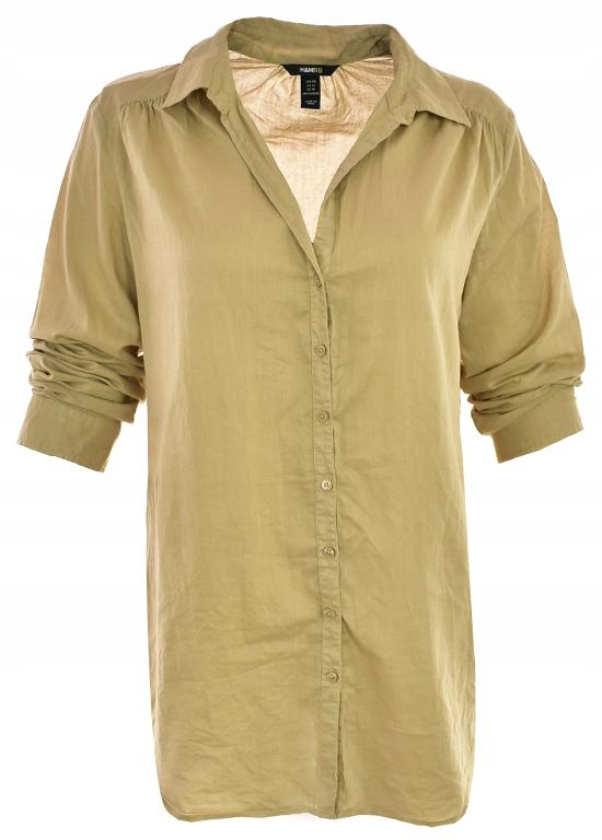 tEEE1124 H&M beżowa bawełniana koszula_44