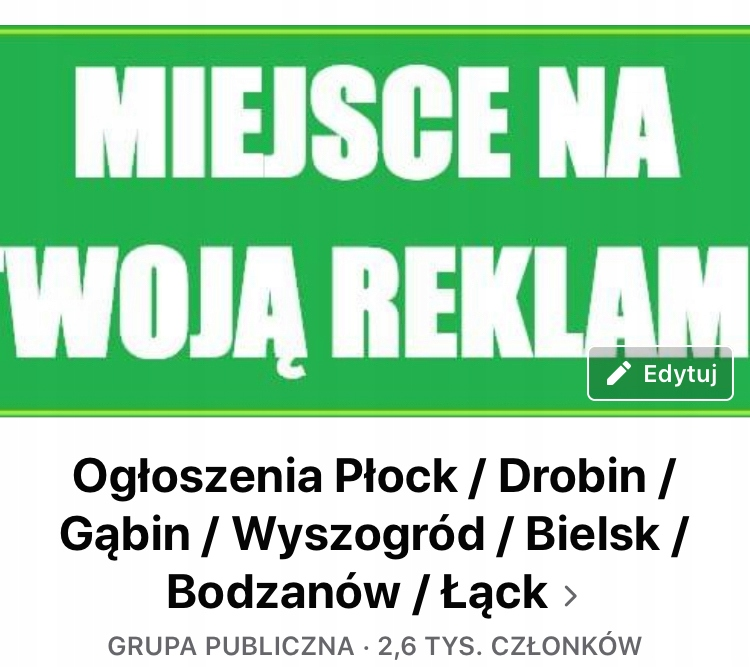 """Grupa na Facebooku """"Ogłoszenia Płock..."""""""