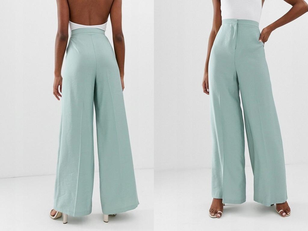 Design miętowe spodnie szerokie nogawki XL/42