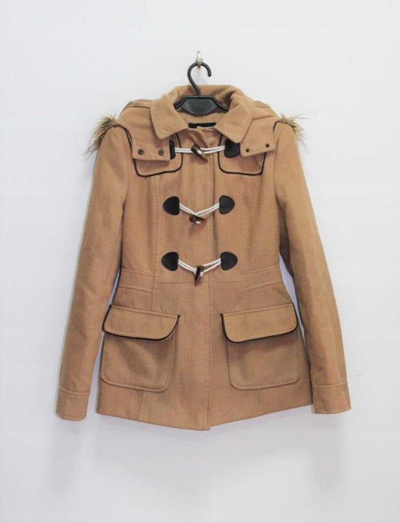 Tally Weijl beżowy płaszcz z kapturem XS 34