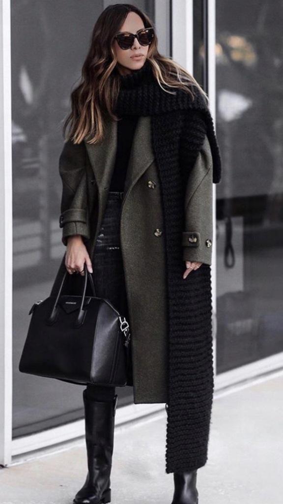 Płaszcz H&M wełniany khaki oversize