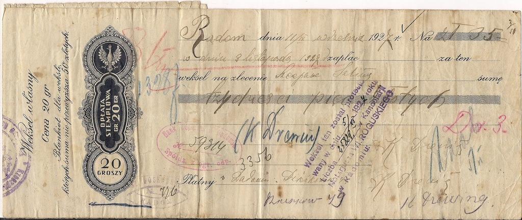 Weksel Radom 1927r