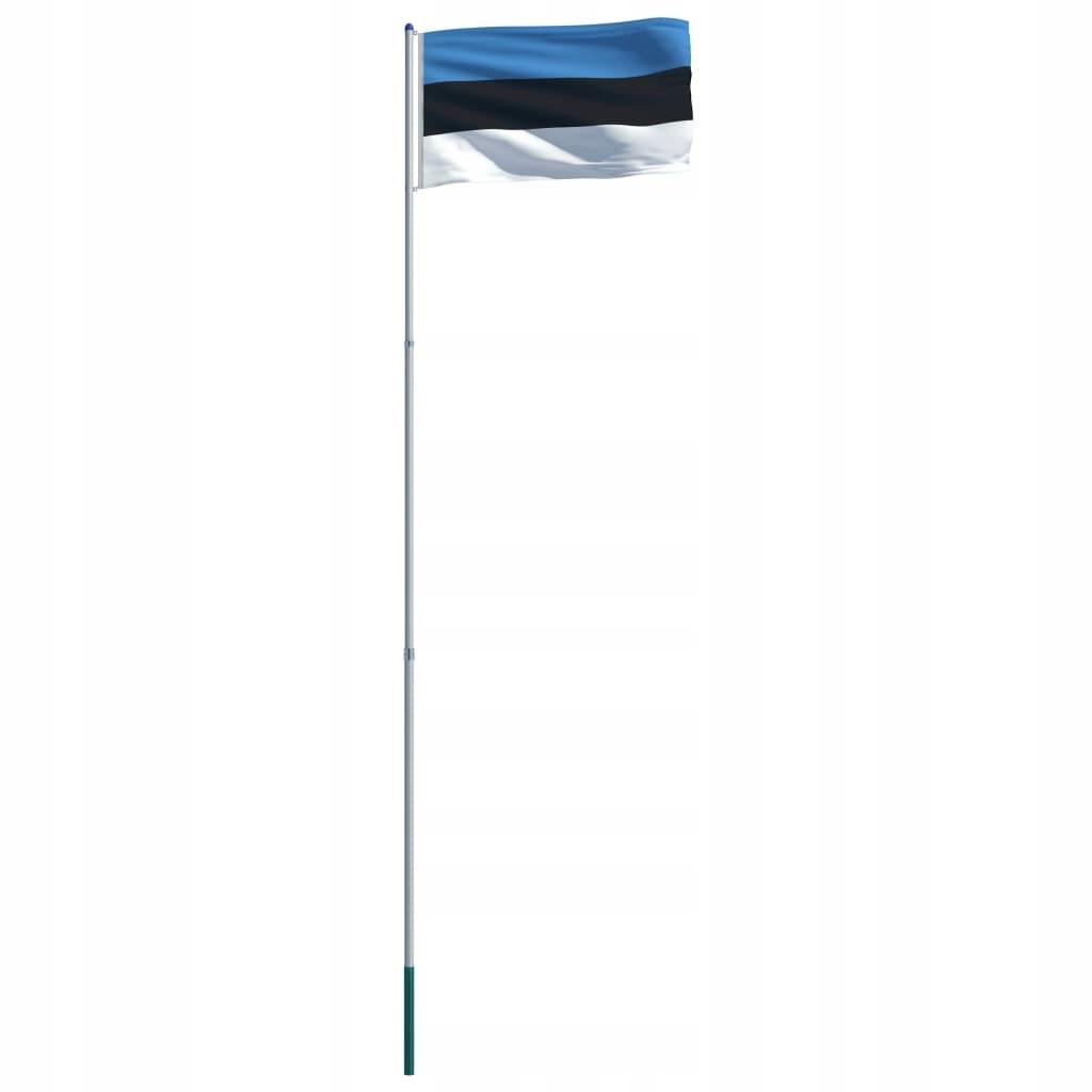 Flaga Estonii VidaXL z aluminiowym masztem 6 m