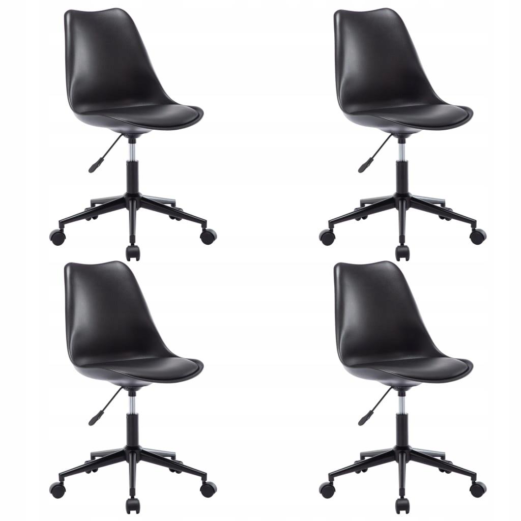 Obrotowe krzesła stołowe, 4 szt., czarne, sztuczna