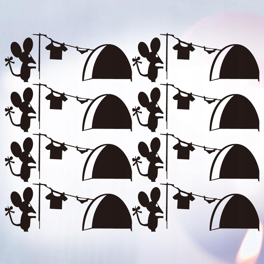 8Pcs Cartoon Mouse Hole Sticker Decorative Childre