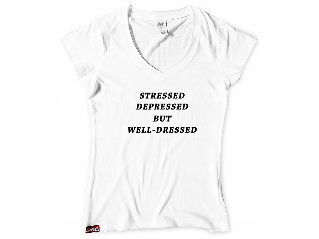 KOSZULKA BLUZKA Stressed Depressed PREZENT 7518525770