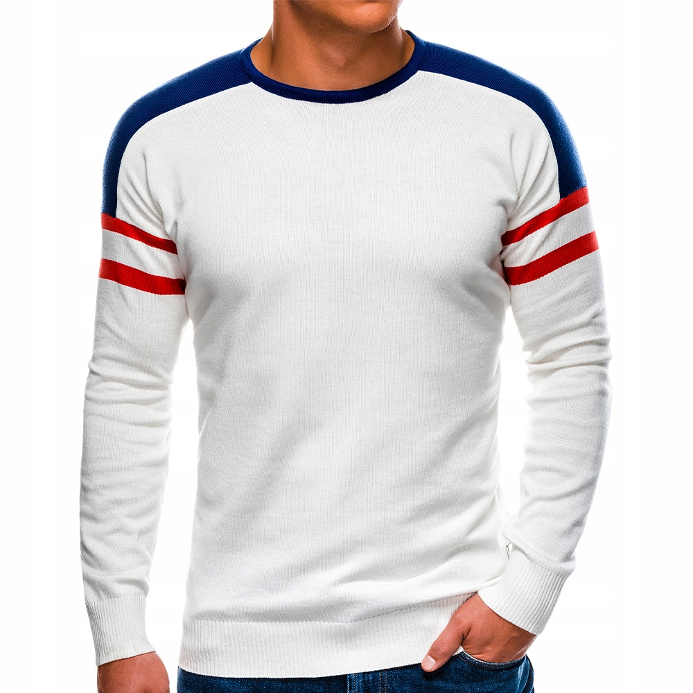 Sweter męski ściągacz sportowy E146 biały S