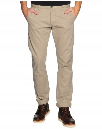 SELECTED HOMME beżowe CHINOSY jeansy BAWEŁNA 30/32