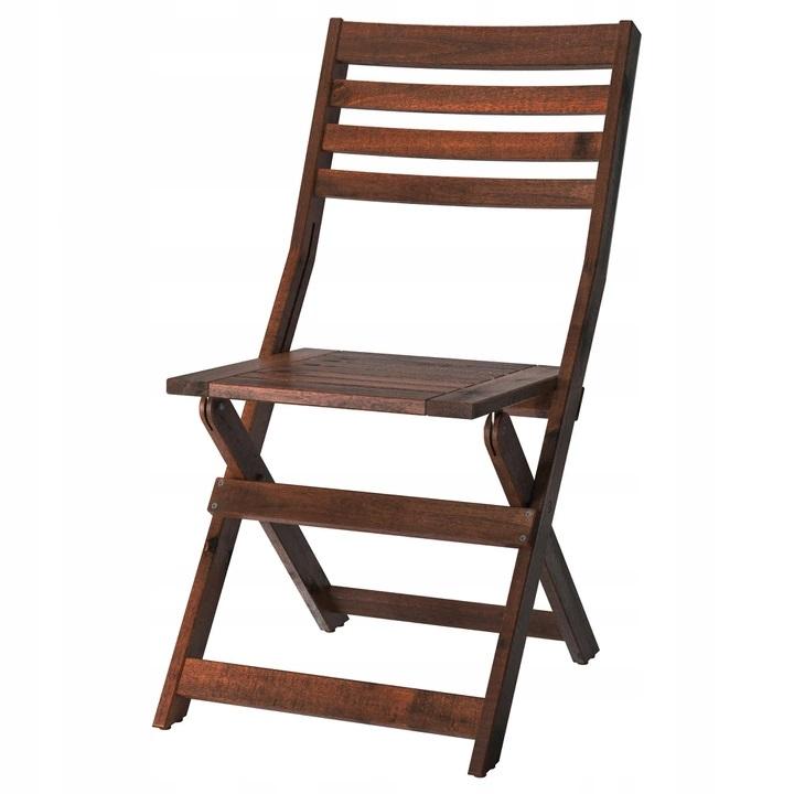 IKEA APPLARO Krzesło ogrodowe składane brąz bejca