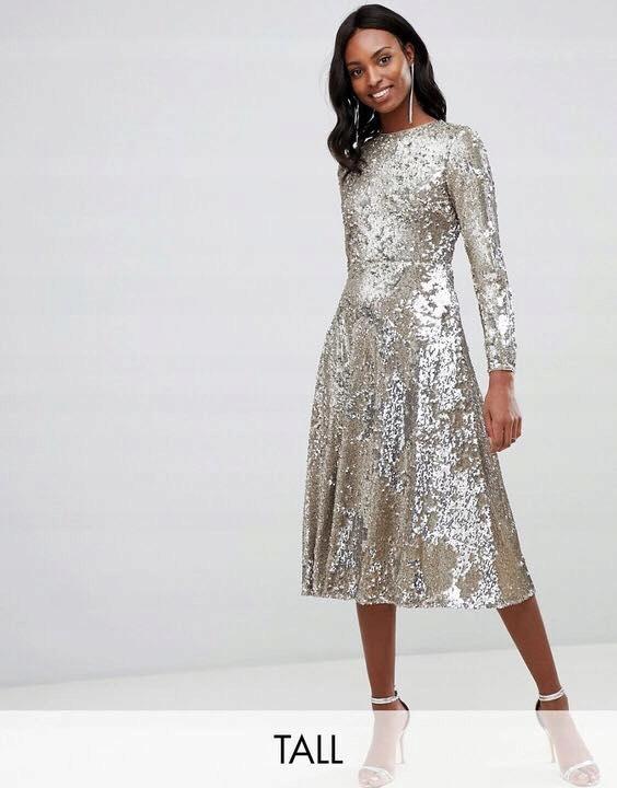 sukienka cekinowa ASOS TALL Rozmiar 36 S