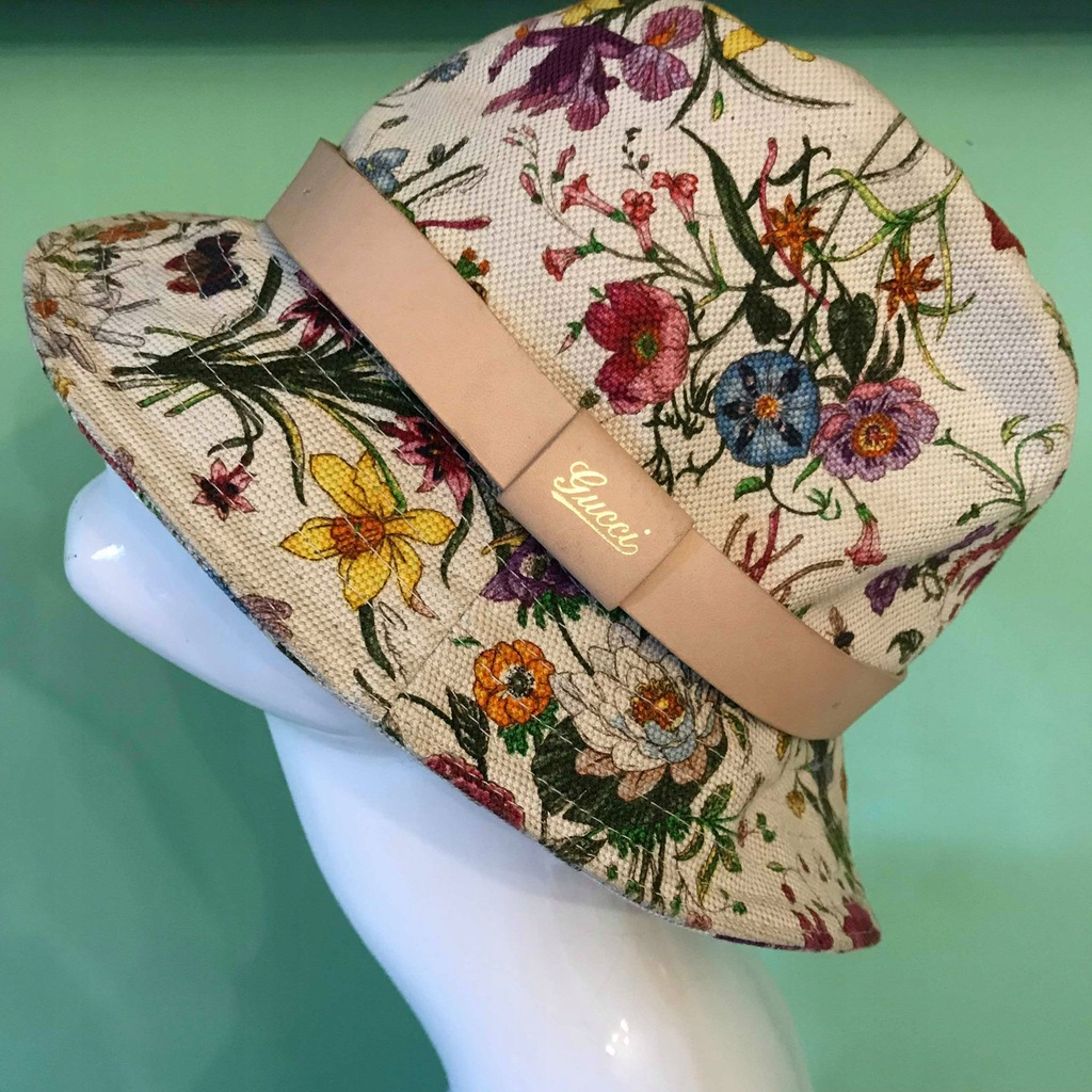 Gucci - kapelusz Flora Print Canvas Bucket Hat !