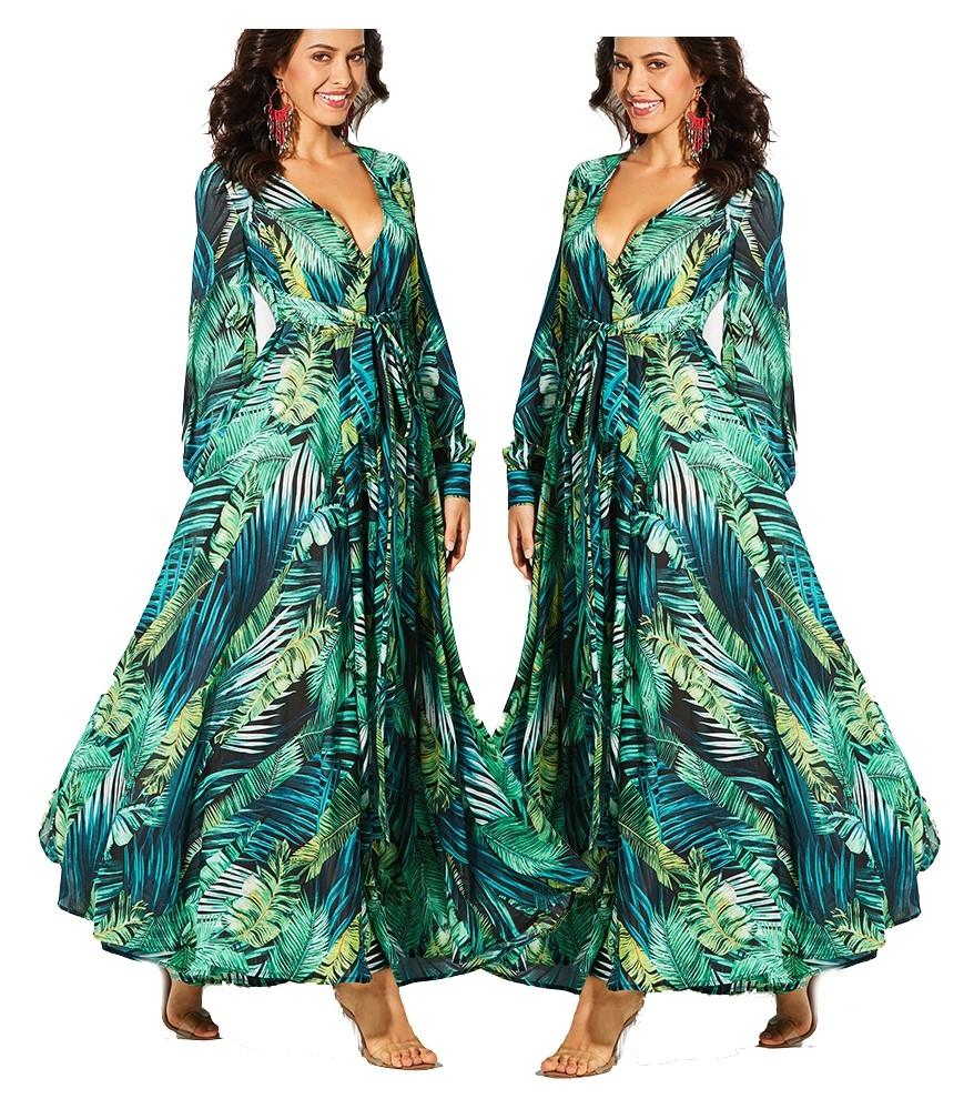 Długa zwiewna sukienka w kwiaty zielona 2XL 44