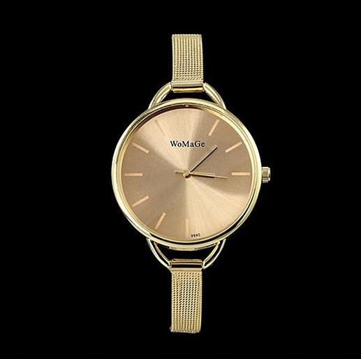 zegarek damski delikatny złoty cienka bransoleta