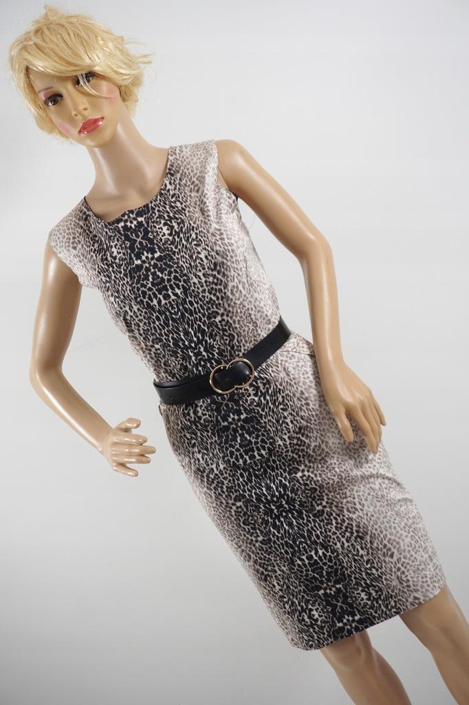 RESERVED ołówkowa sukienka zwierzęcy wzór r 42