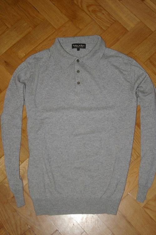 Sweter polo Kaszmir Jedwab L z kołnierzykiem