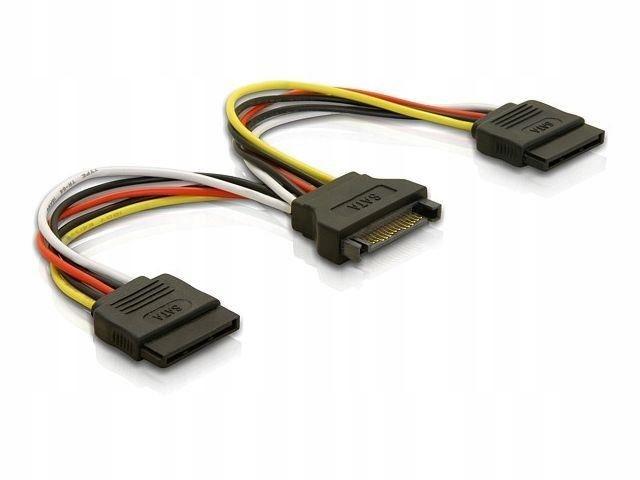 Kabel Delock SATA zasilający(M)->SATA(F) X2 0,1