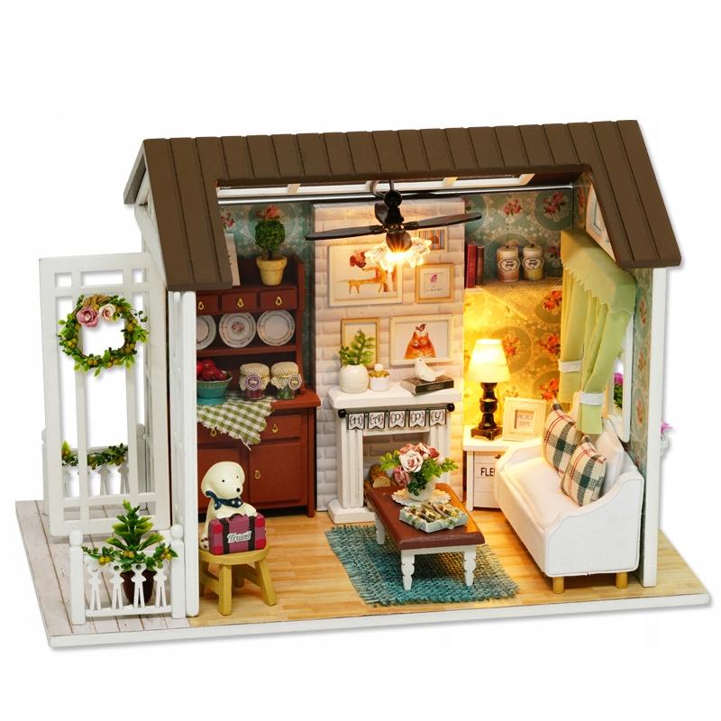 DIY Miniaturowy domek z drewna z oświetleniem LED