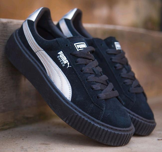 Buty damskie sneakersy Puma Suede Heart Satin II 364084 01 czarnyszary || CZARNY