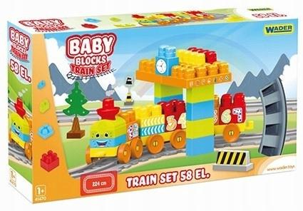 Wader Klocki Baby Blocks Kolejka 58 elementów