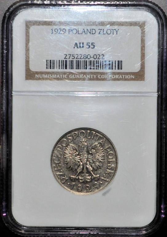 1 ZŁOTY 1929 GRADING NGC AU 55